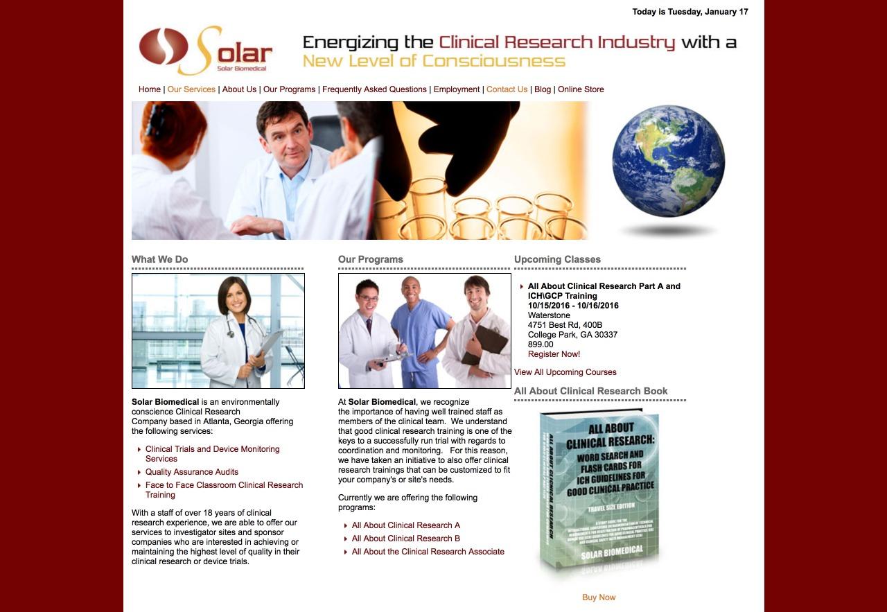 Solar Biomedical (Atlanta, GA) Web Design Project