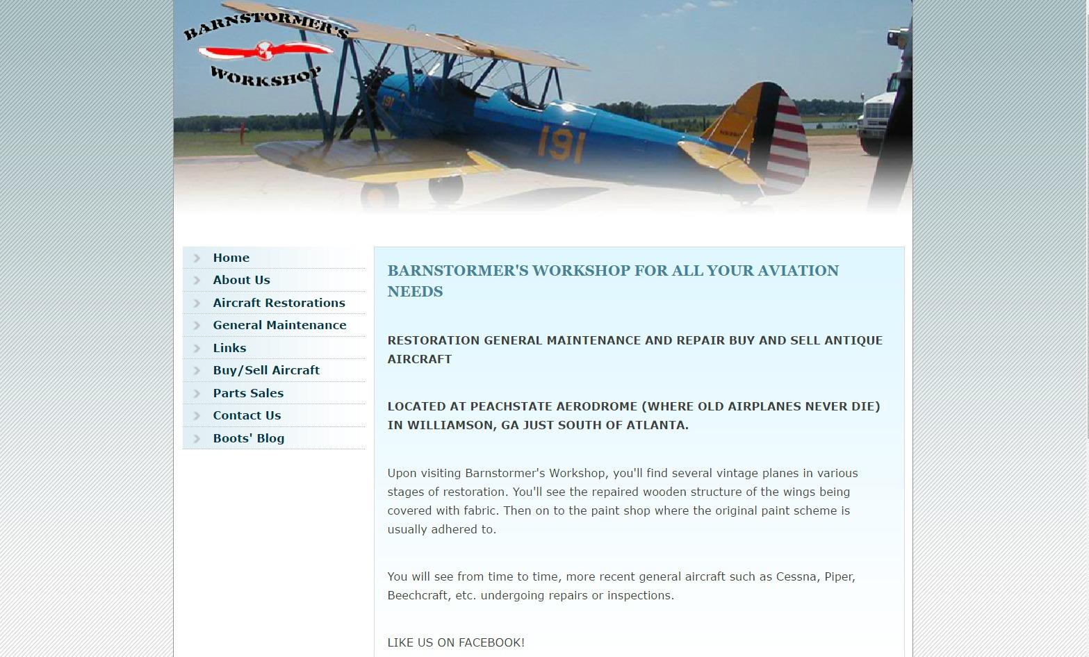 Barnstormer's Workshop (Williamson, GA) Web Design Project