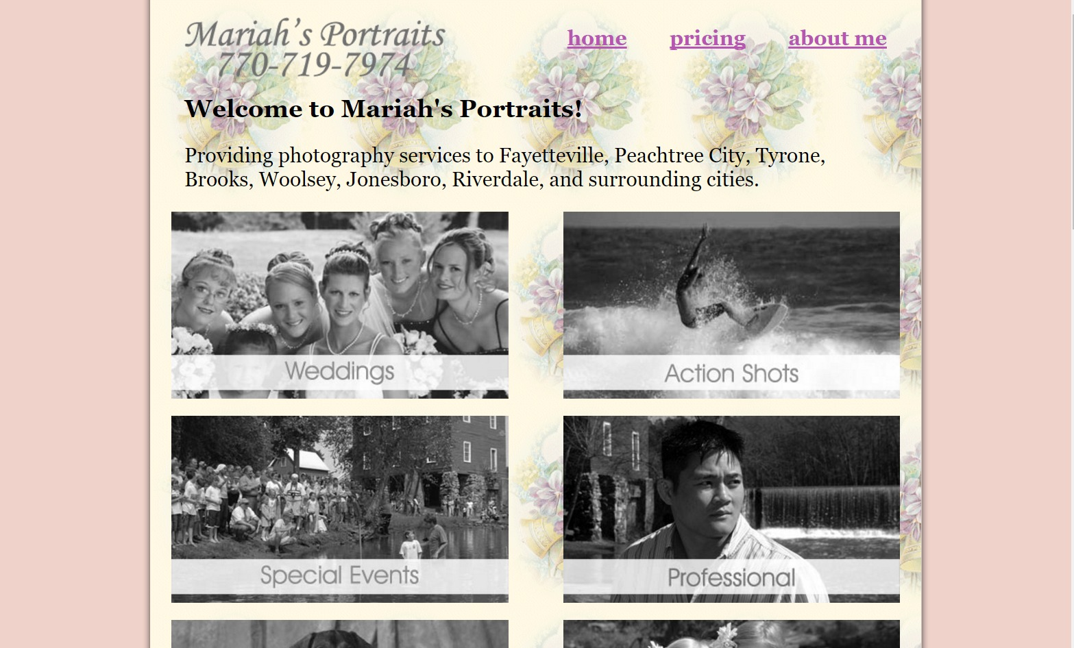 Mariah's Portraits (Fayetteville, GA) Web Design Project