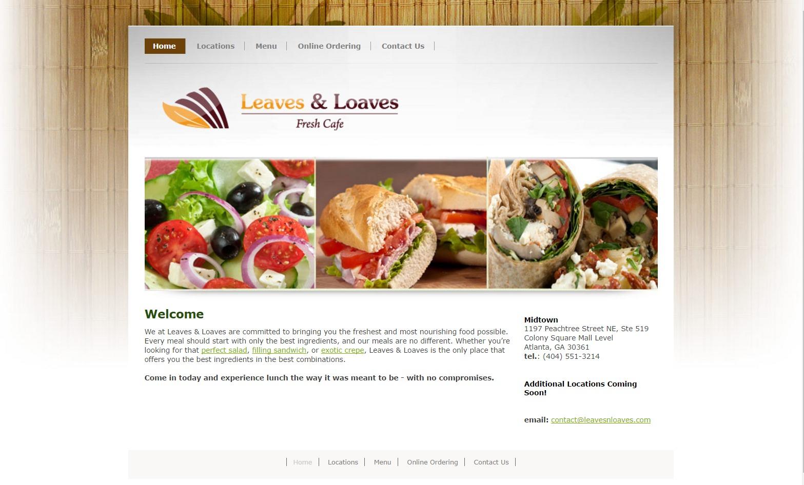 Leaves & Loaves (Atlanta, GA) Web Design Project