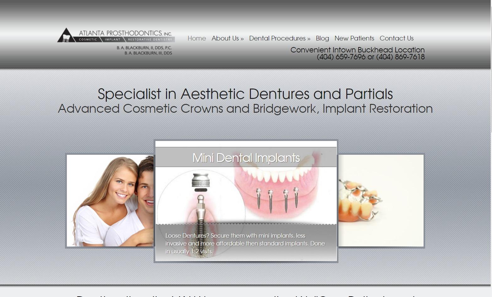 Atlanta Prosthodontics (Atlanta, GA) Web Design Project