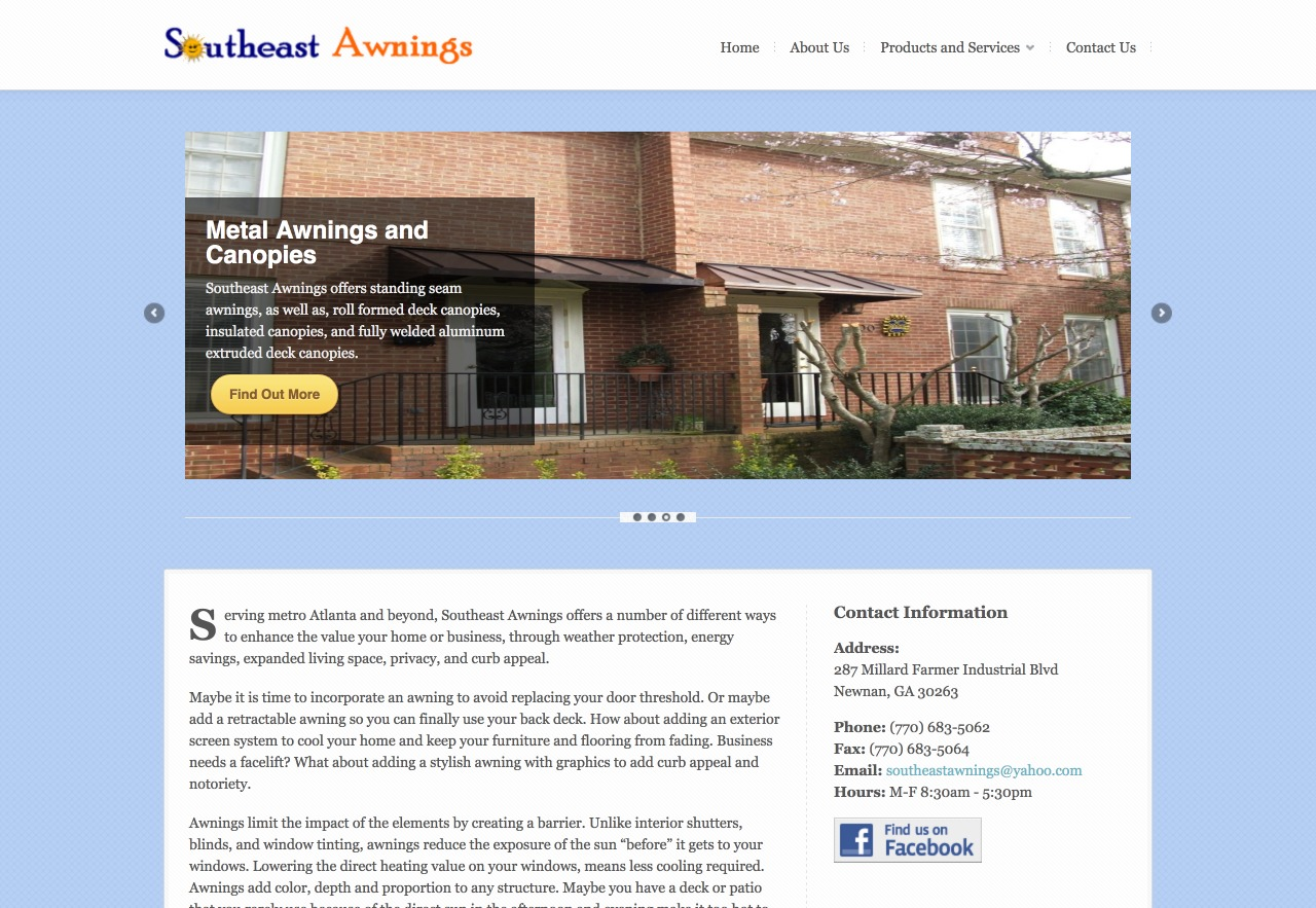 Southeast Awnings (Newnan, GA) Web Design Project