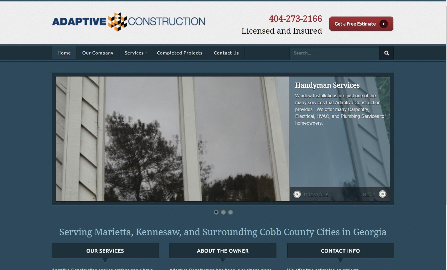 Adaptive Construction (Marietta, GA) Web Design Project
