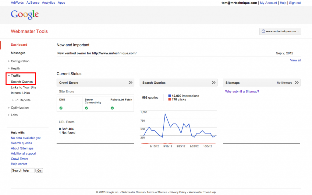 See Your Google Keyword Ranking with Google Webmaster Tools
