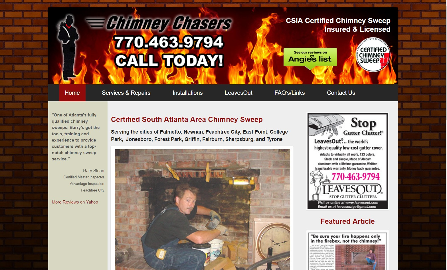 Chimney Chasers (Palmetto, GA) Web Design Project
