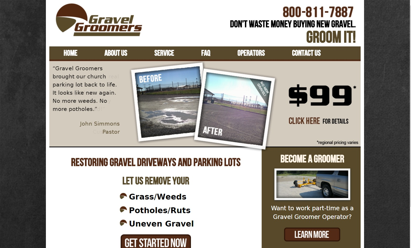 Gravel Groomers (East Peoria, IL) Web Design Project