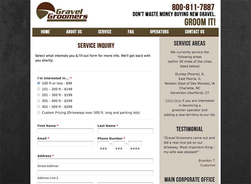 Gravel Groomers Web Design Screenshot