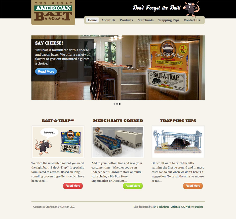 Great American Bait Homepage Web Design Using Canvas Theme