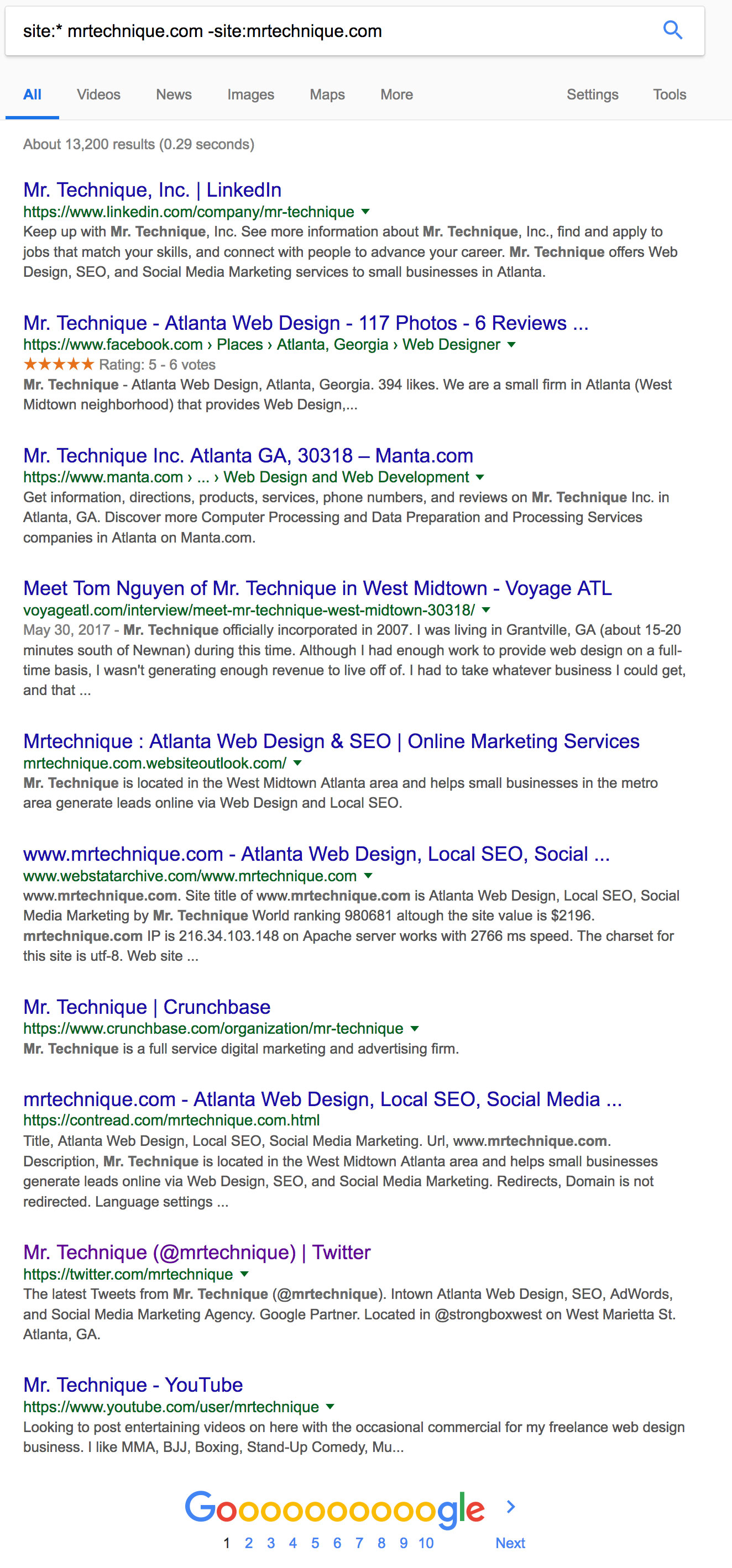 Google Search Query for mrtechnique.com backlinks that excludes results from mrtechnique.com