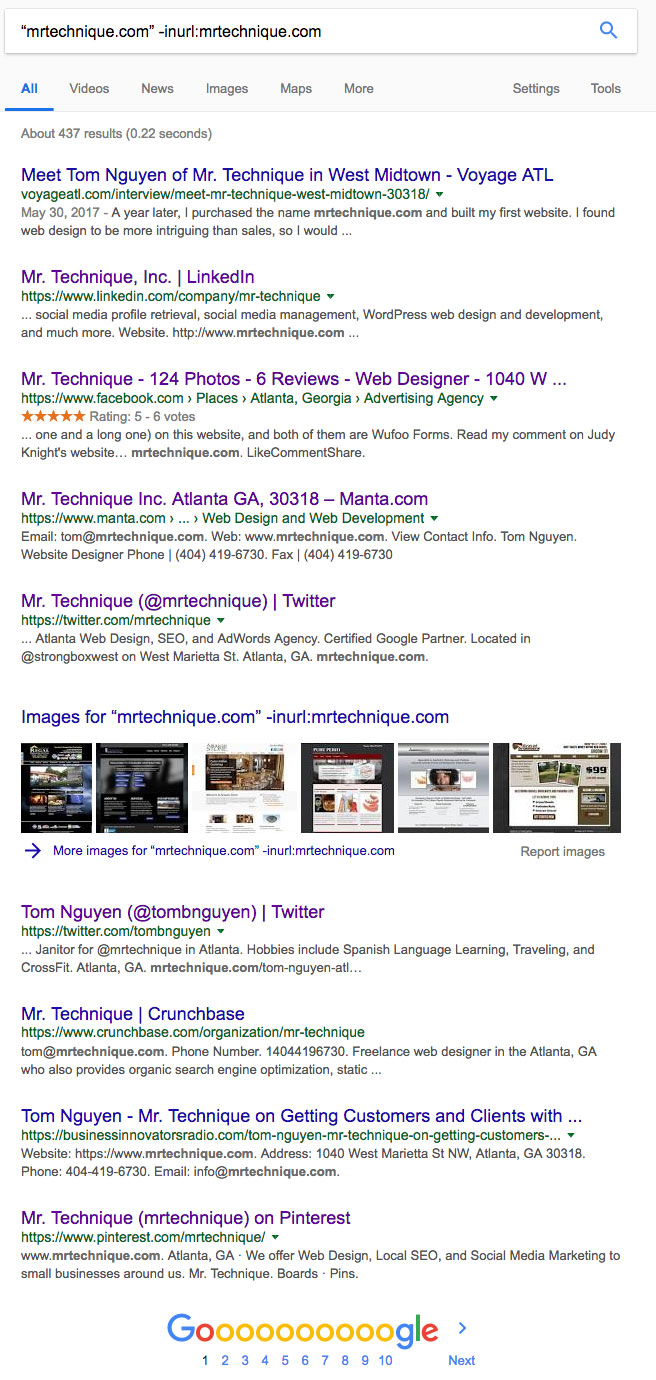 Competitor Backlink Search Query on Google