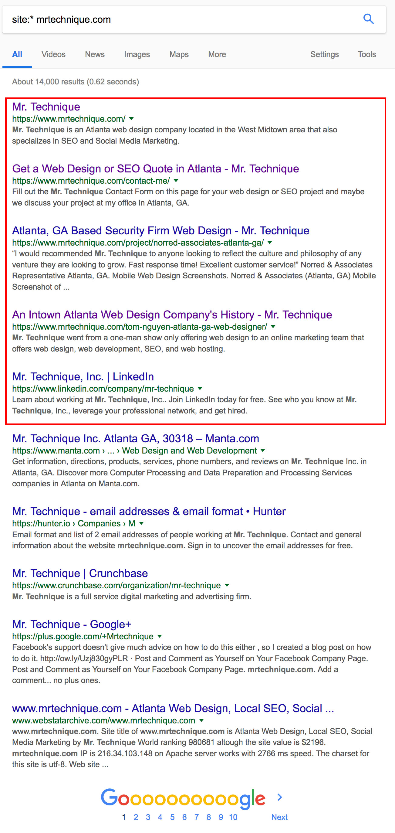 Site Asterisk (*) Search Query for mrtechnique.com
