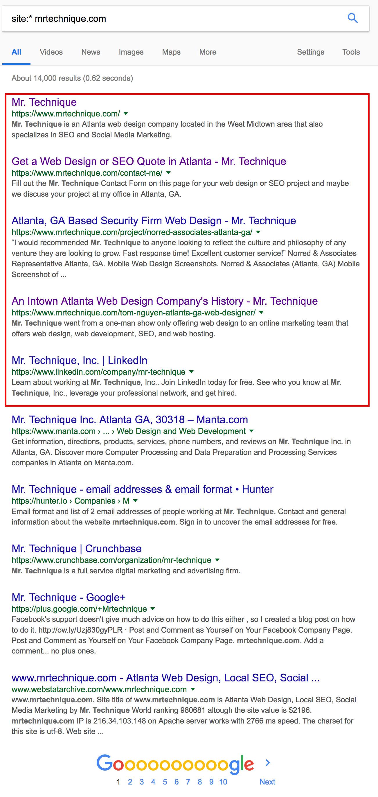 Site Asterisk (*) Search Query for mrtechnique.com