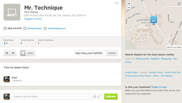 Mr. Technique Foursquare Listing