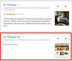 Mr. Technique Duplicate Listing on Google Maps