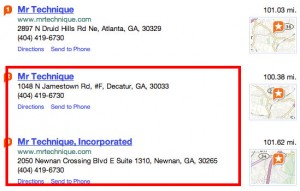 Mr. Technique Duplicate Listing on Yahoo Local