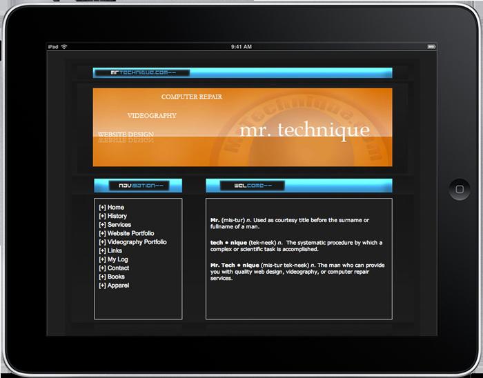 2005 Mr. Technique Website Design (Static HTML)