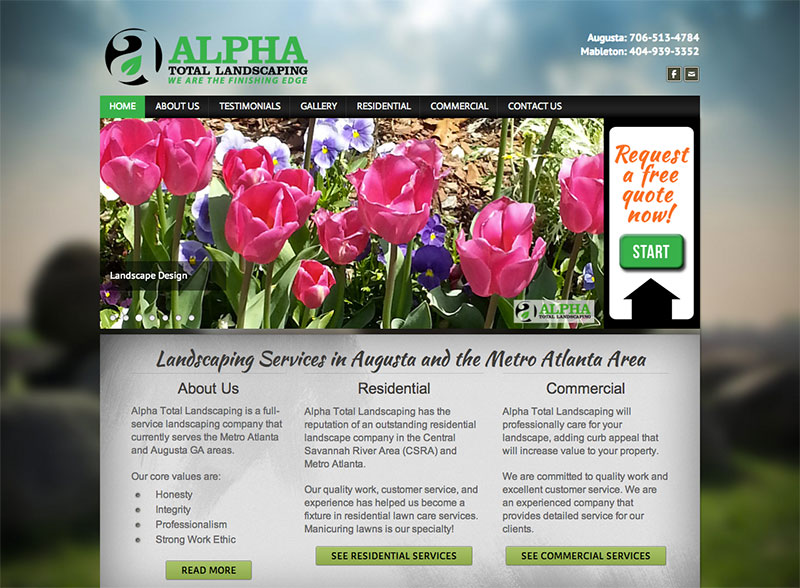 Alpha Total Landscaping Web Design
