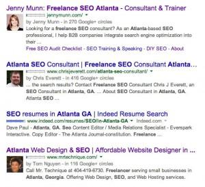 Freelance SEO in Atlanta GA Google Query