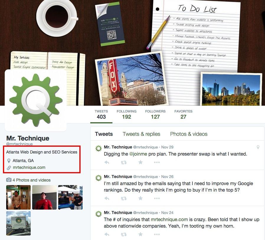 Mr. Technique<sup>®</sup> Atlanta Web Design Twitter Profile