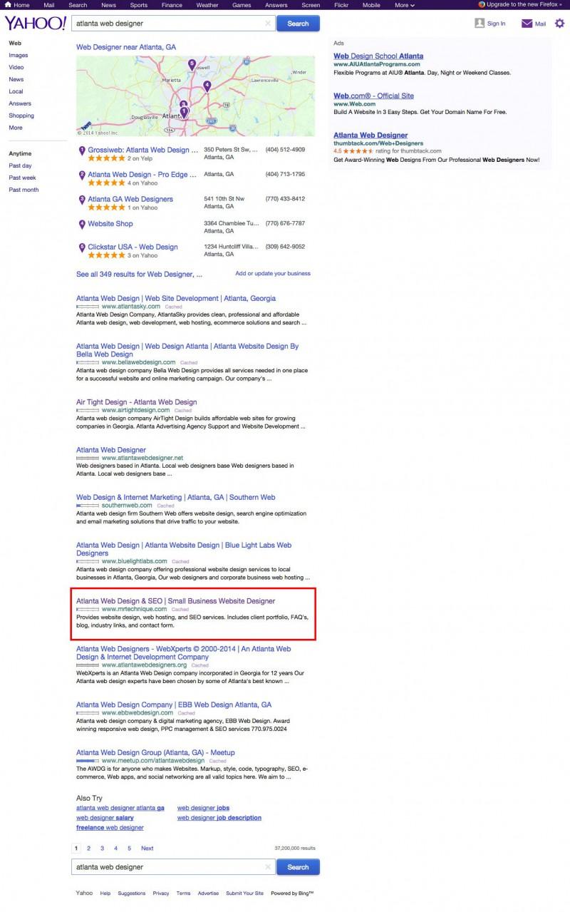 Yahoo Atlanta web designer search results screenshot