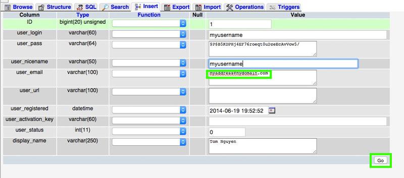 PHPMyAdmin WordPress Database Screenshot