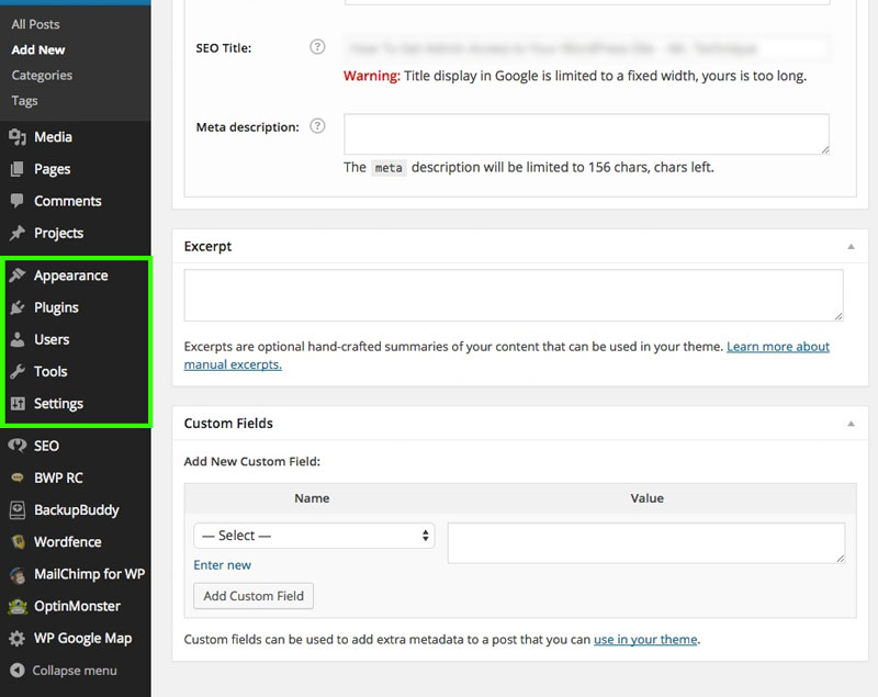 WordPress Admin Area Screenshot