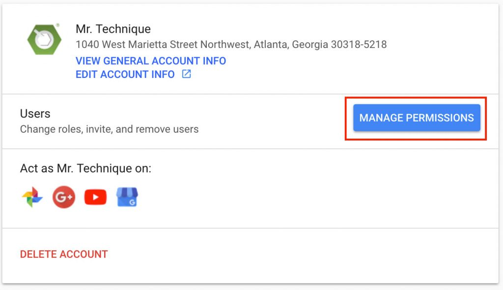 Google Business Account Manage Permissions Button