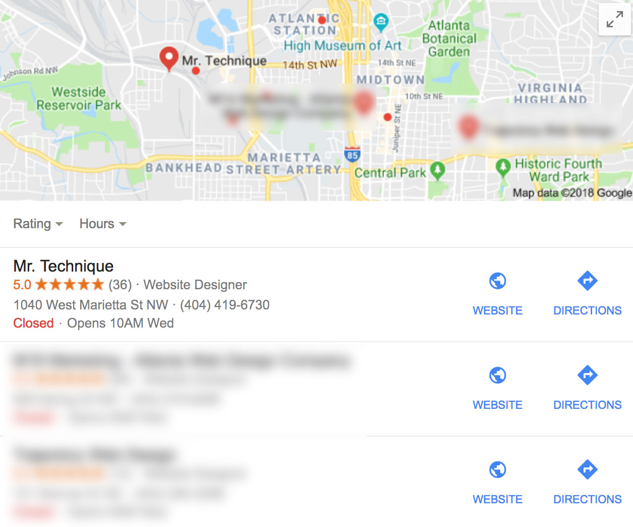 Google Desktop Local Search Results from the Mr. Technique Office