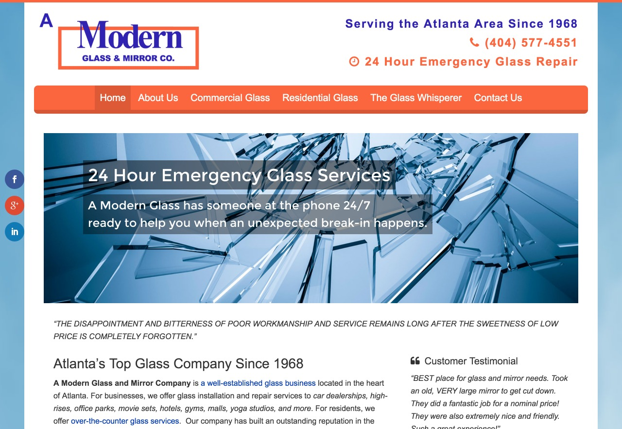 A Modern Glass (Atlanta, GA) Web Design
