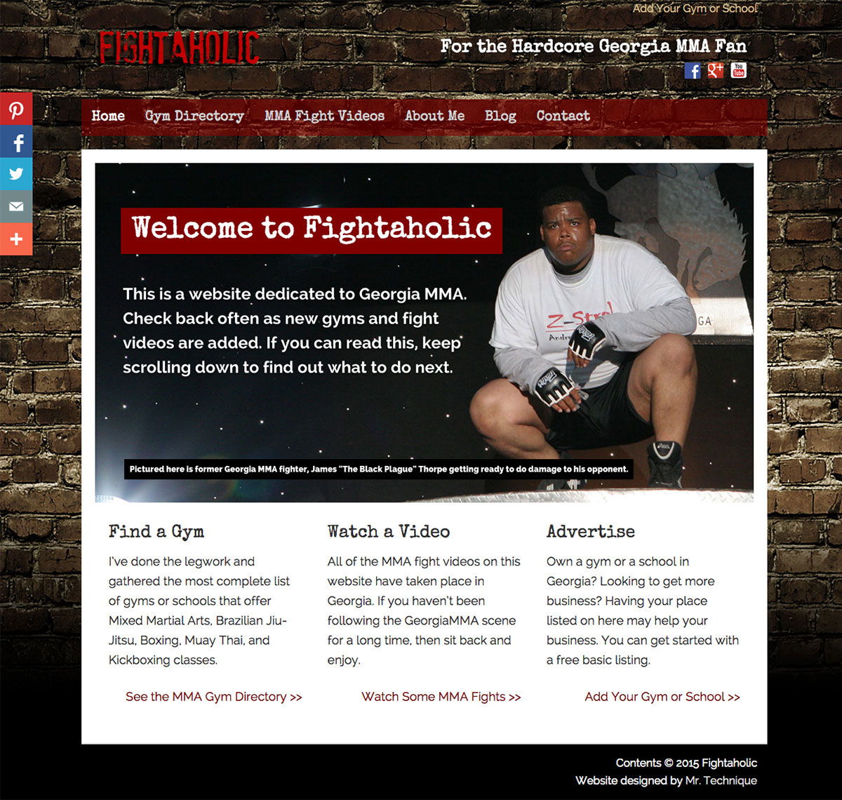 Fightaholic Desktop Screenshot (MMA Directory Web Design)