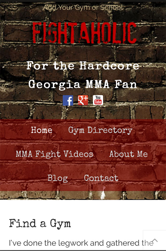 Fightaholic Mobile Web Design Screenshot