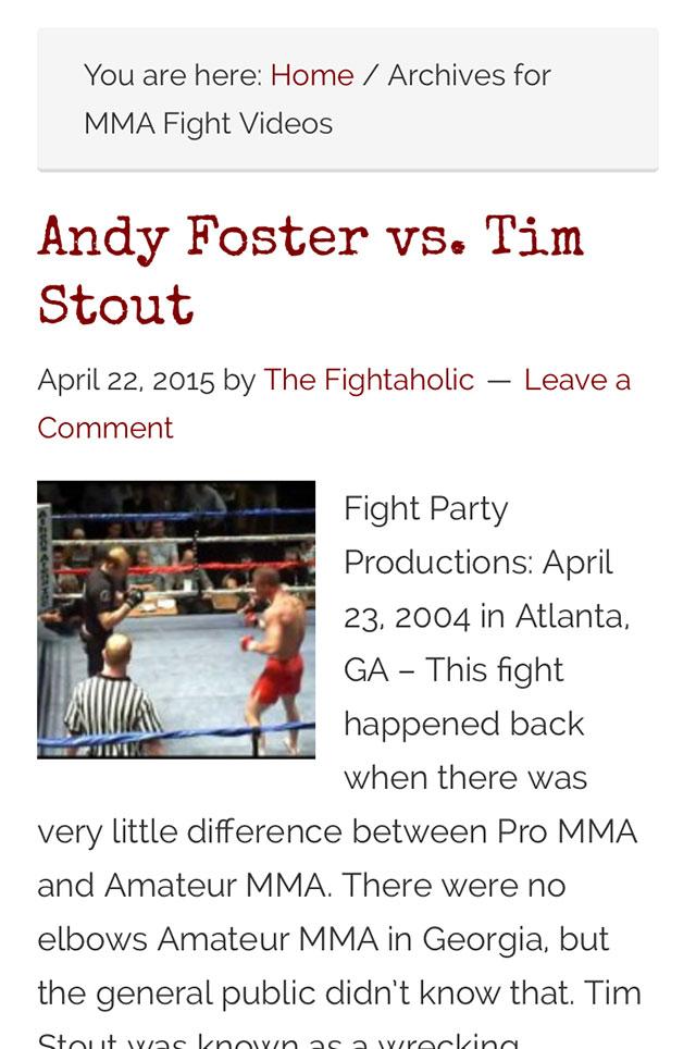 Fightaholic Mobile Web Design Screenshot