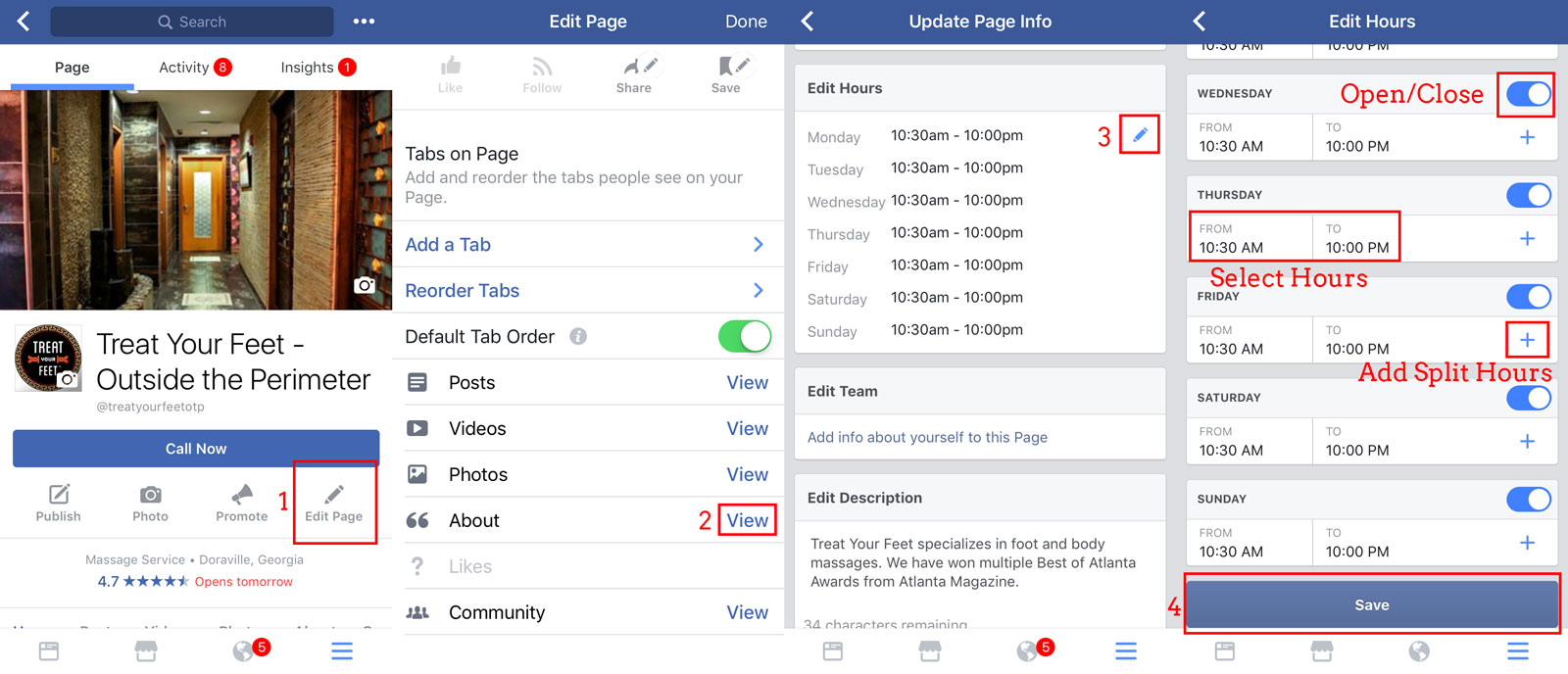 The steps to update a Facebook Company Page's hours of operation on a mobile phone
