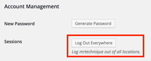 Log Out WordPress User Everywhere Button