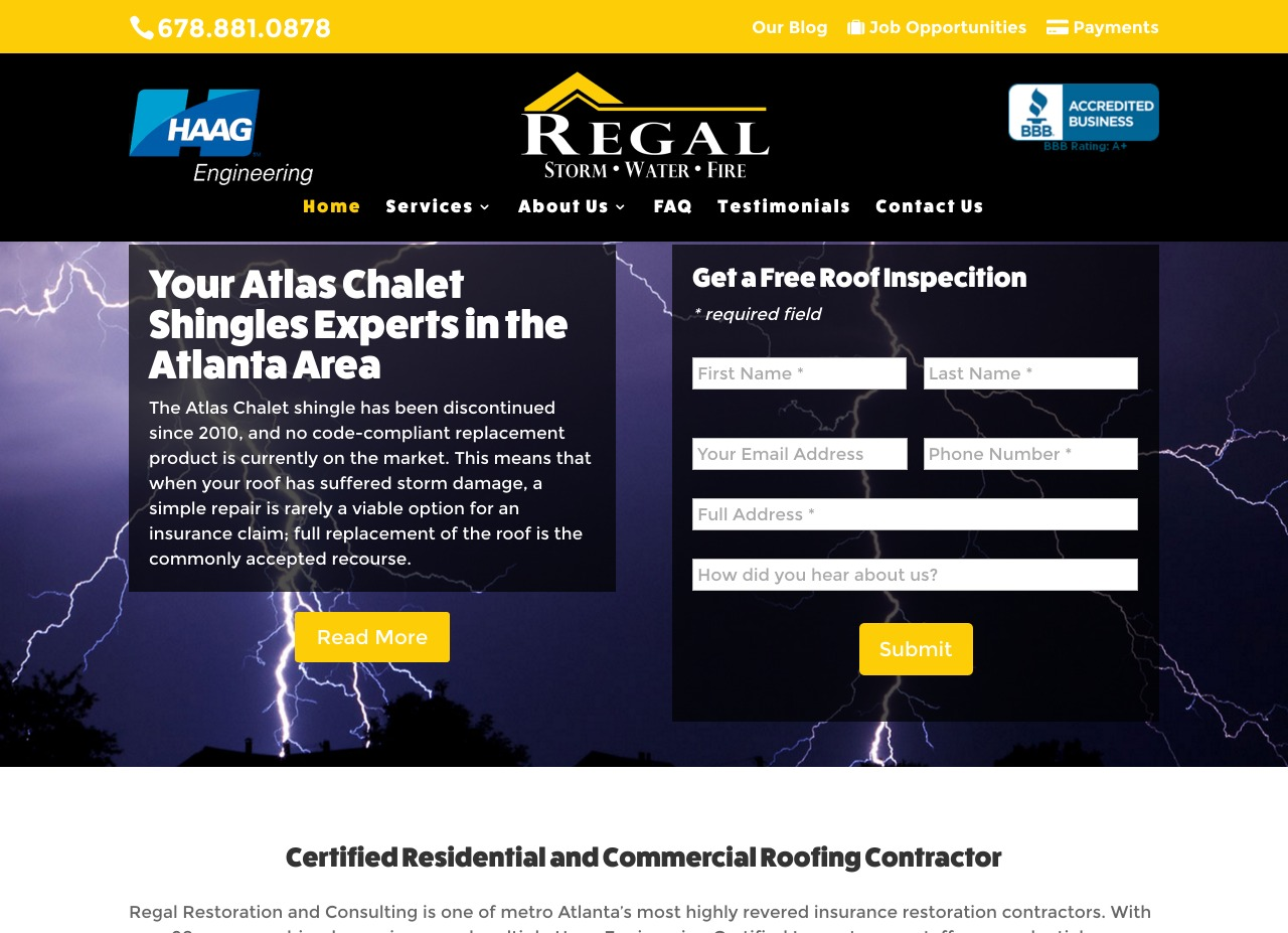 Regal Restoration & Consulting Home Page Web Design