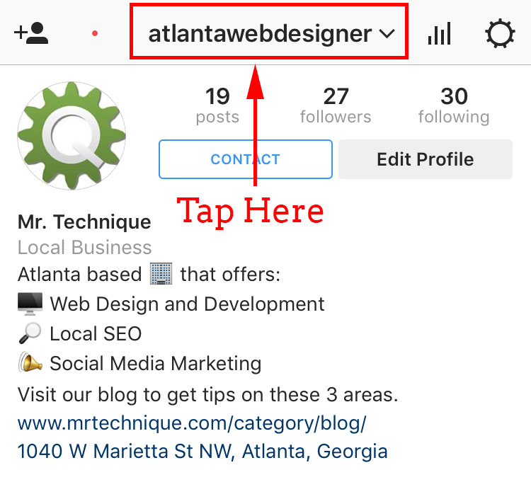 Tap your Instagram username to add a new account to manaage