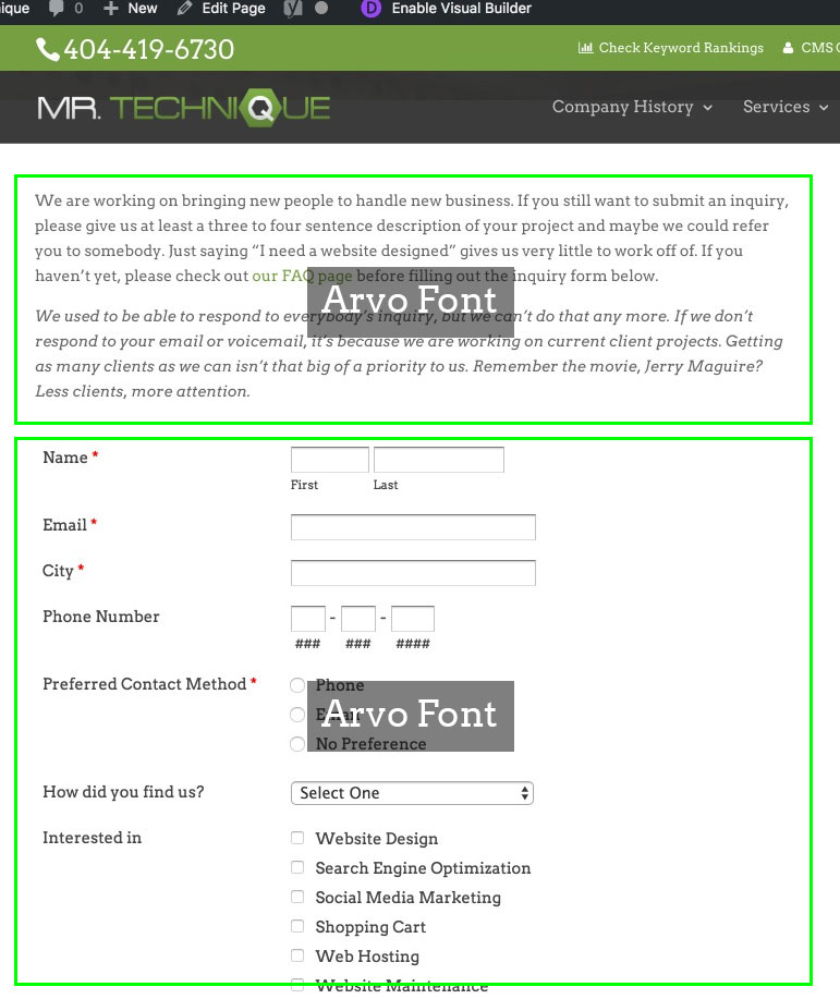Arvo Font on Wufoo Form and Website