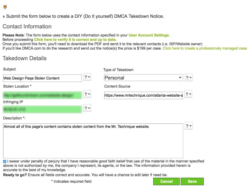 DIY DMCA Takedown Notice Form