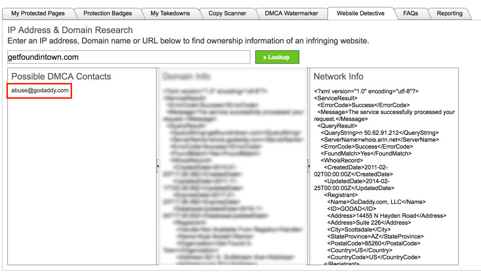 DMCA Website Detective used for finding who to email DMCA Takedown Notice to