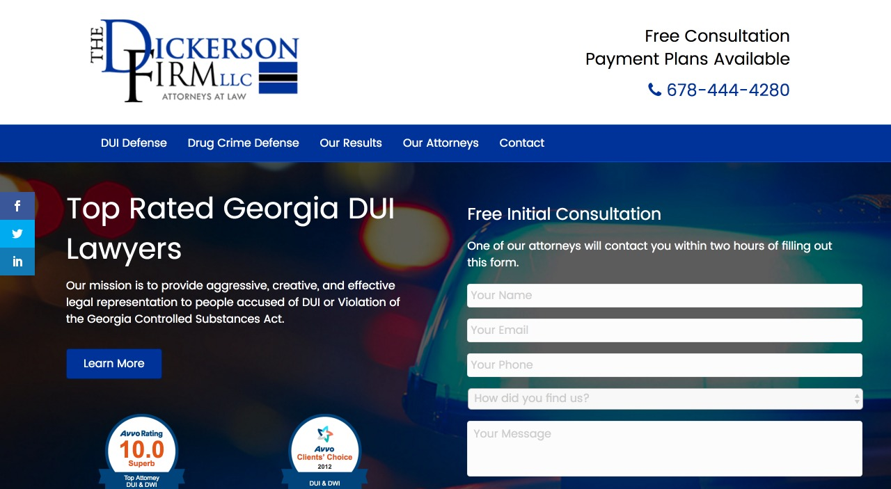 The Dickerson Firm Home Page Web Design on Desktopi