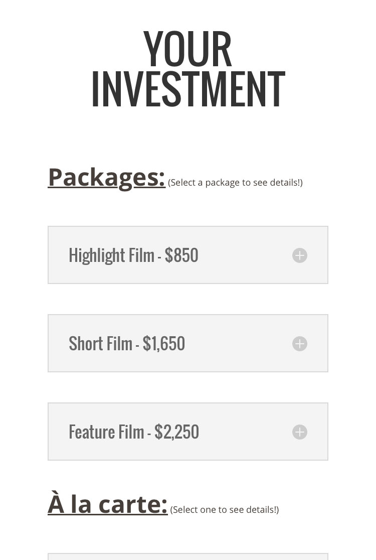 Helena Films Mobile Phone Pricing Page