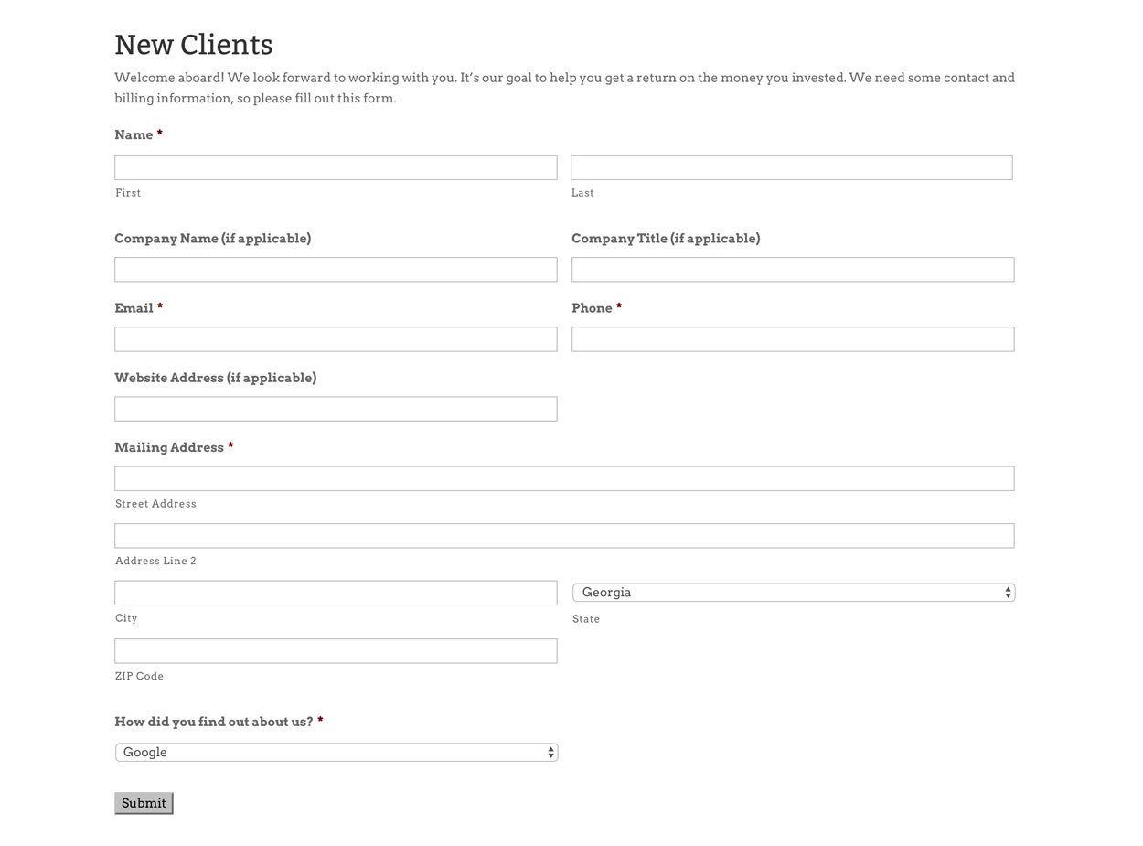New Client Form created with Gravity Forms