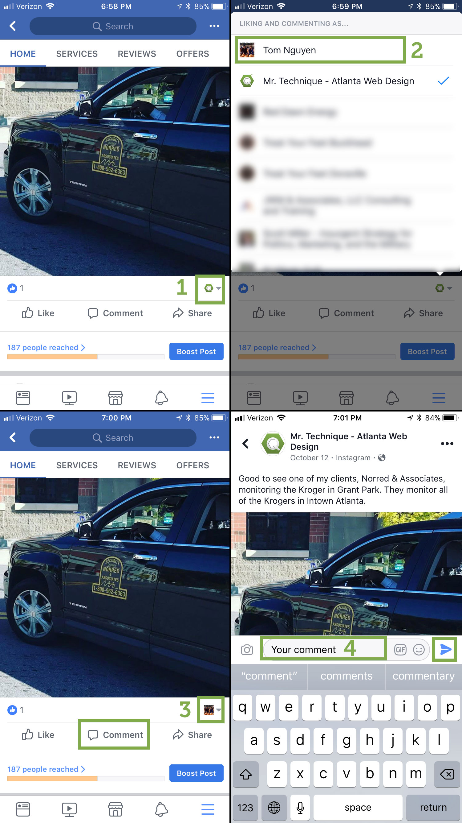 Steps on how to comment on your Facebook company page's post as yourself