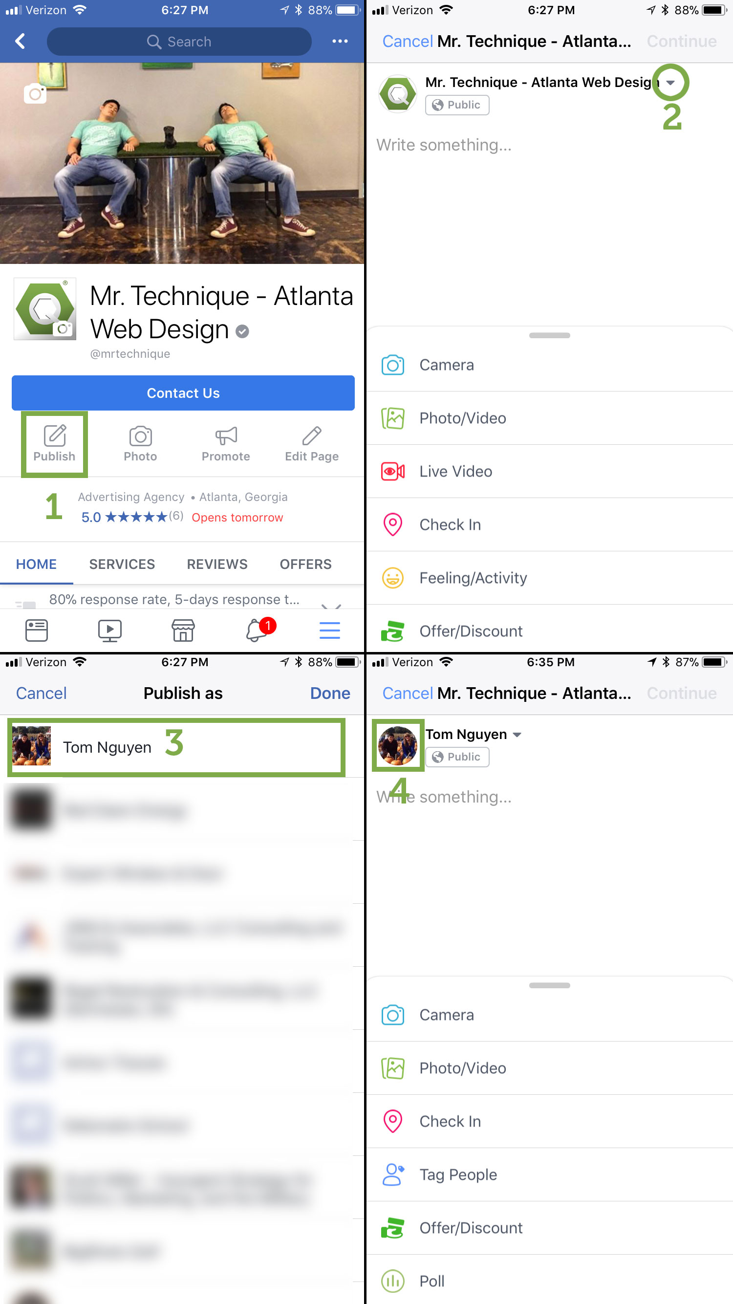 Steps on how to post on Facebook company page as yourself on a mobile phone