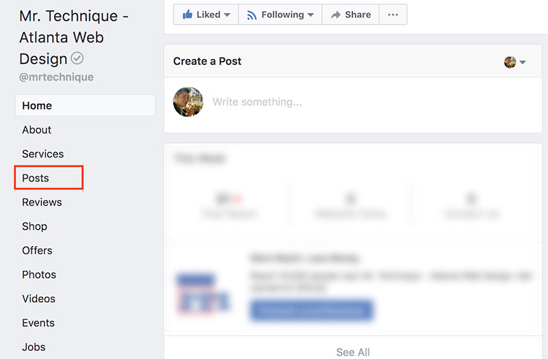 Facebook Company Page Posts Sidebar Menu Option
