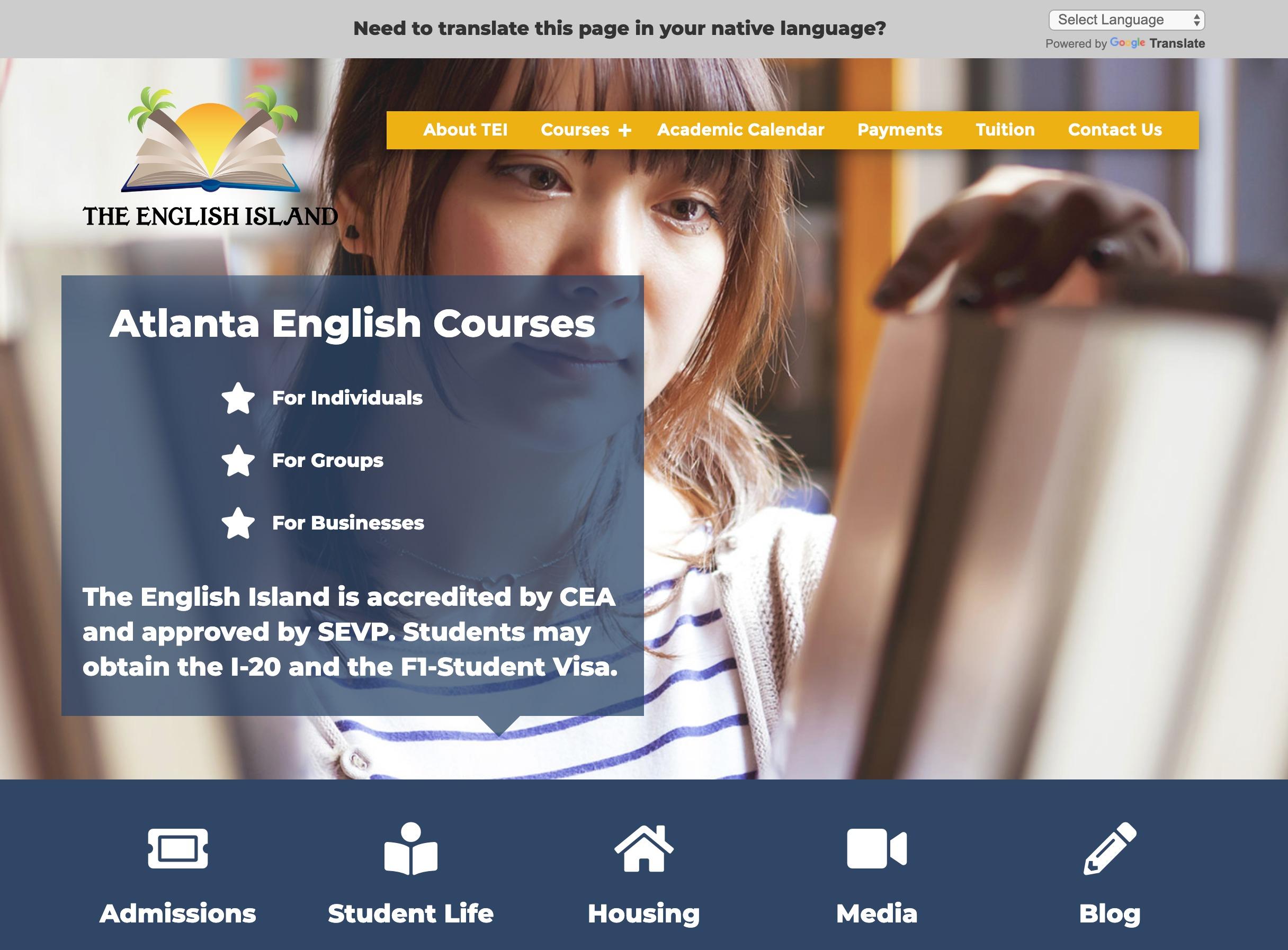 The English Island Home Page Desktop Screenshot