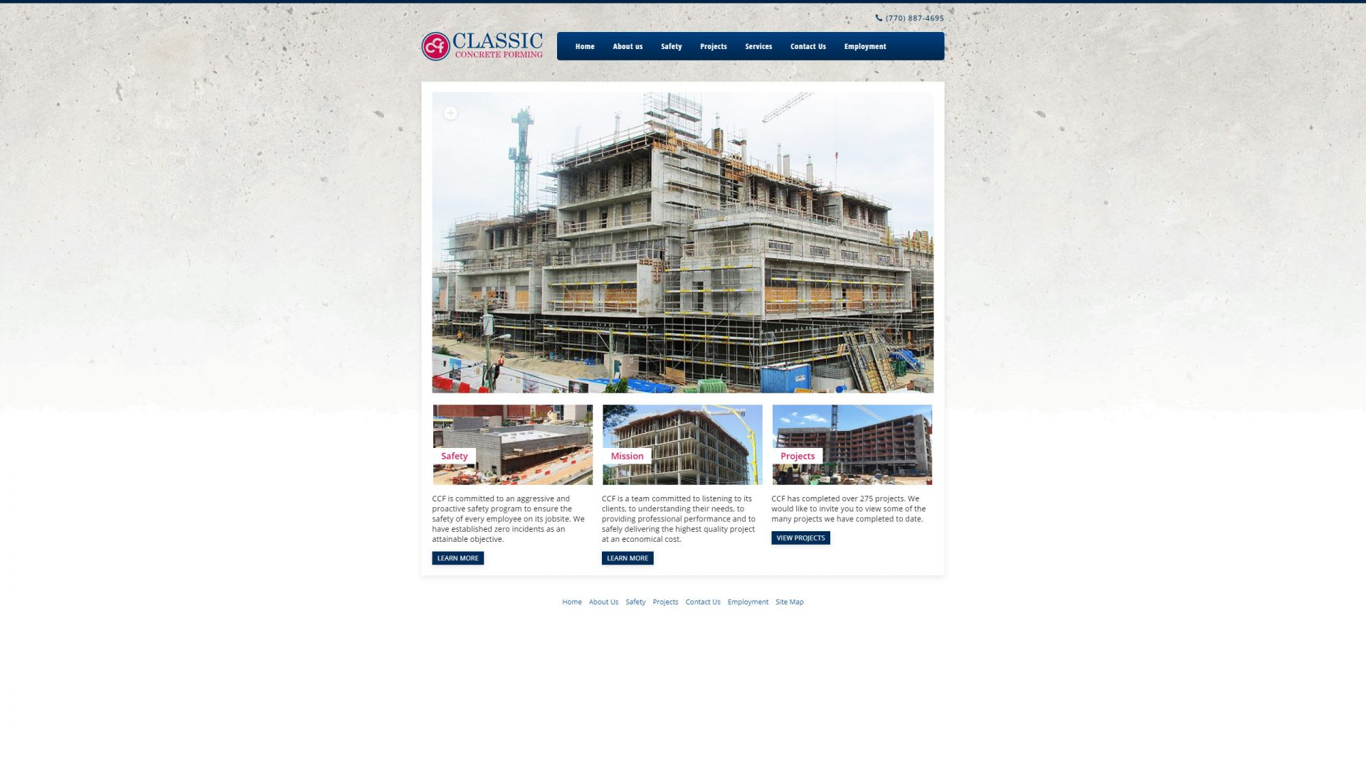 Classic Concrete Forming (Cumming) Desktop Web Design