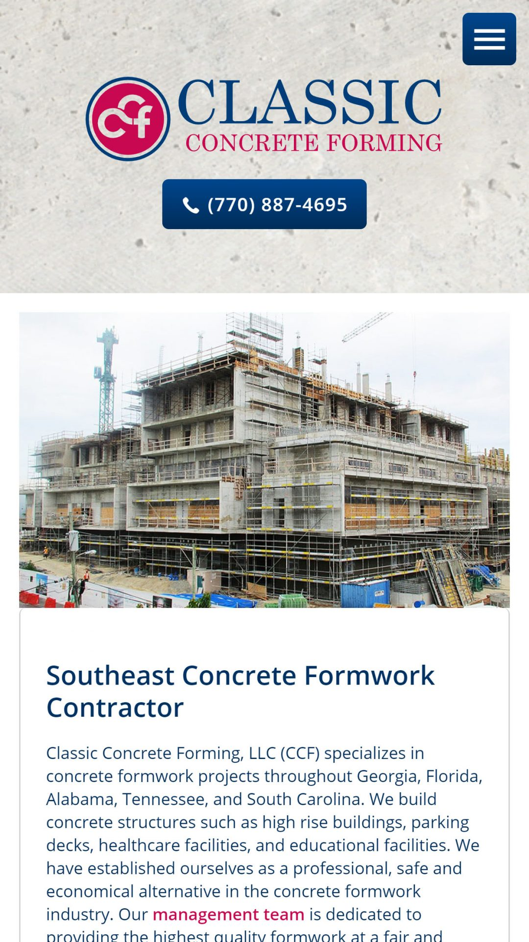 Classic Concrete Forming (Cumming) Mobile Web Design