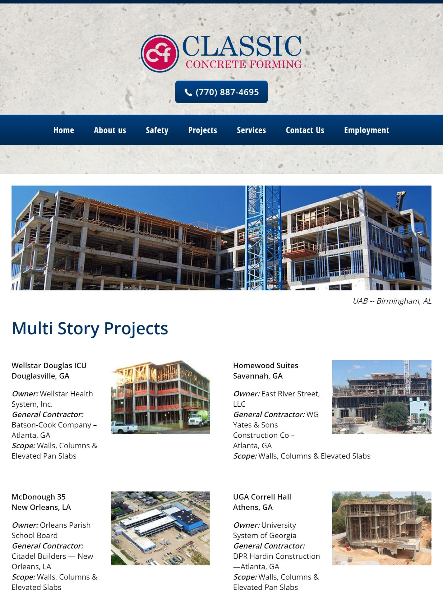 Classic Concrete Forming (Cumming) Tablet Web Design