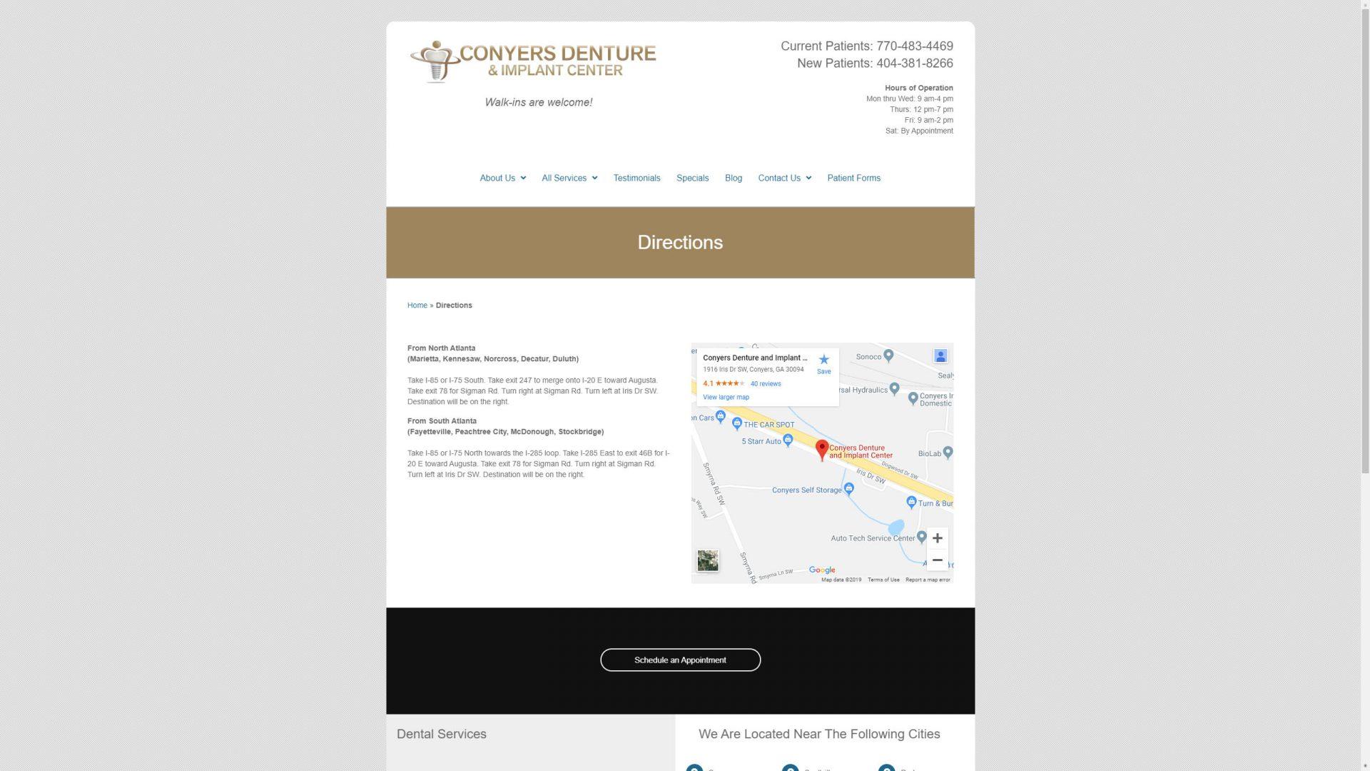 Conyers Denture & Implant Center Desktop Web Design